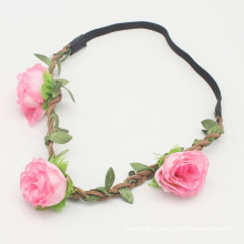 Розовый фестиваль партии венок Цветок Девушки повязка (HEAD-285)