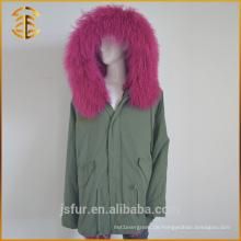 Army Green Beste Qualität Hood Fox Gefüttert Zipper Frauen Pelz Parka