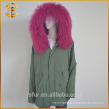 Army Green Best Quality Hood Fox Lined Zipper Femme fourrure Parka