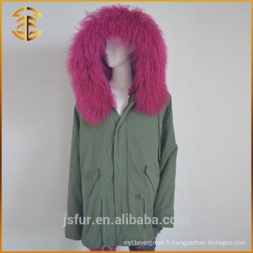 Army Green Best Quality Hood Fox Lined Zipper Femme fourrure Parka