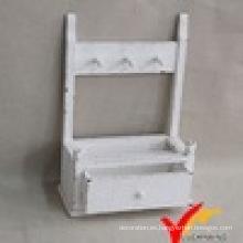 Diseño de estante de pared de madera blanco vintage con 1 cajón