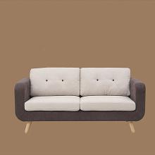 Mid-Century Wooden Legs Fabric Lounge Sofa Set