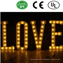 Romántica LED frontal Lit Bulb Letter Sign-Love para la boda