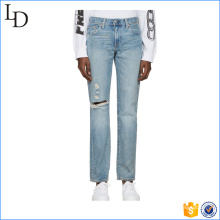 2017 hot sale men's slim straight wash blue denim jeans