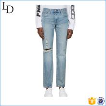2017 venda quente dos homens magro lavagem reta azul jeans
