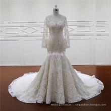 XF1123 manches longues sirène robe de mariée robe de mariée pour les femmes noires