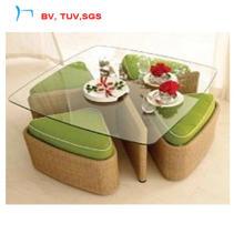 Table de salle à manger d'osier de patio d'hôtel avec l'herbe claire (CF788T + CF788C)