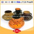 Tazas de café y platillos cerámicos seguros para microondas