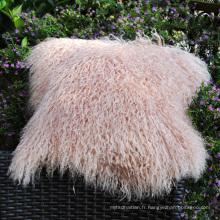 Housse de coussin taie d'oreiller en fourrure d'agneau rose taille personnalisée