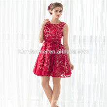 Nouvelles ventes chaudes meilleur prix robe de cocktail courte sans manches vin robe rouge soirée