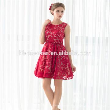 Neue Heiße Verkäufe Bester Preis Ärmelloses Kurzes Cocktailkleid Weinrotes Kleid Abend