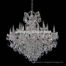 Éclairage de lustre de bras de verre en cristal de décoration de mariage vintage