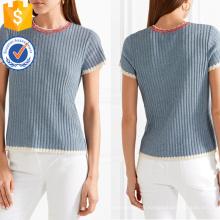 Vente chaude à manches courtes en coton bleu et blanc bords festonnés Summer Top fabrication en gros de mode femmes vêtements (TA0077T)