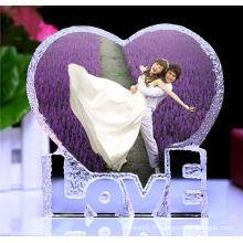 Cadres photo bon marché de coeur de cristal pour l'anniversaire et le cadeau de faveur de mariage