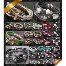 Pulsera de cristal, pulsera de cuero, pulseras al por mayor de la joyería (FB0115)