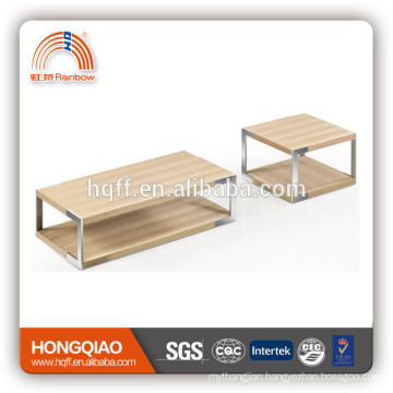 CT-22 ET-22 modern veneer coffee table stainless steel end table wood table tops