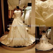 Q-6255 Satin Ruches Robe de mariée jupe double couche avec Tulle Llace Appliques robe de mariée
