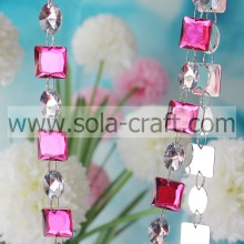 Crystal Rose Color 19mm Square Clear 13 * 18mm Oval Bead Garland
