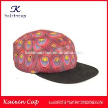 2015 высокое качество создать свой собственный логотип черный пустой краев павлиньи перья кожаный ремешок 5 панели шляпы