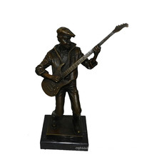 Music Decor Brass Statue Male Player Carving Bronze Sculpture Tpy-748
