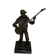 Музыкальный Декор Латунь Статуя Бронзовая Скульптура Резьба Мужской Плеер Т-748