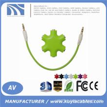 Multi Headset Splitter mit Aux Kabel 6 Way 6 Port 3,5 mm Audio Ohrhörer Ohrhörer Smartphone kompatibel als Werbegeschenk