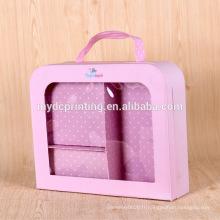 Emballage de poignée de marque de boîte de vêtements de bébé de luxe avec la fenêtre