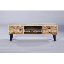 Industrial Vintage Wooden Metal Legs Tv Stand