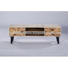 Industrial Vintage Wooden Metal Legs Tv Stand