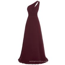 Starzz un hombro de gasa de vino rojo largo vestido de dama de honor simplemente ST000071-4