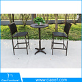 Cadeira de jantar de vime moderna moldura de alumínio com braço de madeira PS