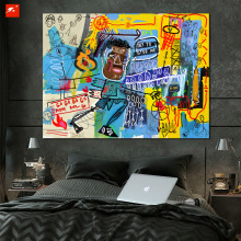 New Graffiti Wall Picture Cartoon Black Man Oil Painting