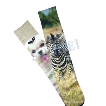 Personalizado do poliéster calor transferência sublimação impressão Animal meias