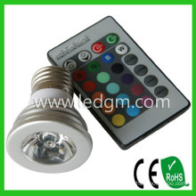 Bridgelux Chip LED Bulb Lamp E27 3W RGB LED Spotlight