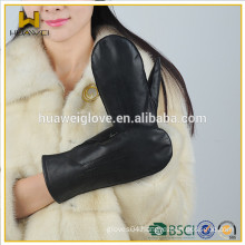 Classic black soft lambskin gloves women winter wearing leather gloves mittens