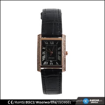 watch women stones black wrist watch genuine leather strap japan movement