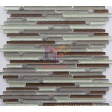 Strip Glass Mosaic with Stone Mosaic (CFS606)