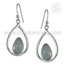 Brilhante Rainbow Moonstone Earring 925 Sterling Silver Jóias Jóias Jaipur Handmade Online Silver Jewelry