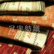 Tecido de estofamento de chenille de poliéster jacquard para têxteis domésticos