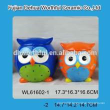 Promotional ceramic owl-shape cookie jar for kitchen