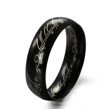 Anel barato, anel preto, anel de aço inoxidável