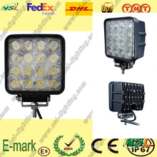 Luz de trabajo LED, luz de trabajo LED de 16PCS * 3W, luz de trabajo LED de 12V CC para camiones