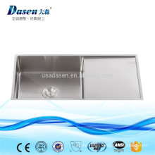 Hand built kitchen rinses sink single bowl with single plate without faucet feature