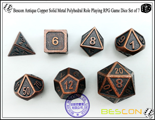 Bescon New Style Antique Copper Solid Metal Polyhedral Role Playing RPG Game Dice Set (7 Die in Pack)-3