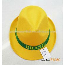 Billigste Polyester Hüte gelbe Fedora mit benutzerdefinierten Logo OEM ODM Willkommen