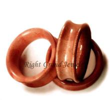 Light Red Body Piercing Jewelry Organic Wood Ear Tunnels