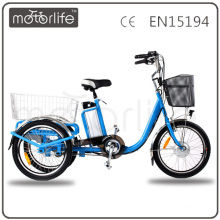 MOTORLIFE / OEM marca EN15194 36 v 250 w bicicleta elétrica 3 rodas, carga elétrica três rodas