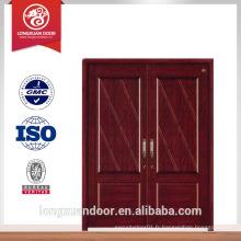 Portes d'entrée porte double en bois double porte avant