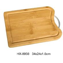 Bamboo Chopping Block With Metal Handle and Groove
