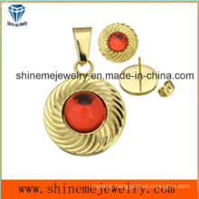 Fashion Jewelry Sets Gold Plating Jewelry Ear Stud with Pendant (ERS6997)